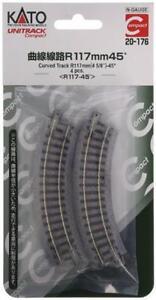KATO N Scale 20-176 UNITRACK Compact 117mm (4 5/8) Radius 45 degree Curve Track