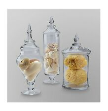 Large Candy Jars Set Glass Buffet Table Top Decor With Lid Apothecary Jars 3 Pc