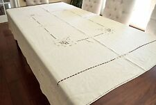 """VINTAGE 1920s EMBROIDERED RETICELLA TABLECLOTH OFF WHITE ARTS & CRAFTS 70X86"""""""