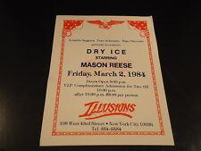 "VIP COMP TICKET 1984 ""DRY ICE"" Mason Reese ILLUSIONS Nightclub NYC music club VG"