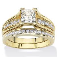 Women's 14K GOLD Plated Princess Cut CZ Wedding Engagement Ring Set Sizes 5-10