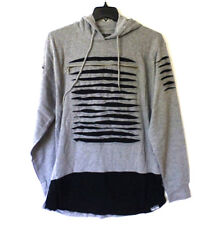 Switch Mens Size XL Grey & Black Zipper Destroyed Slim Hoodie Sweatshirt New