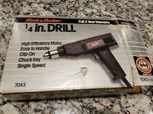 Vintage Black & Decker 1/4 Drill Single Speed  No. 7043 Corded