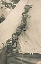 WW1 Soldier group peering out of bell tent J E Appleby from Hull East Yorkshire