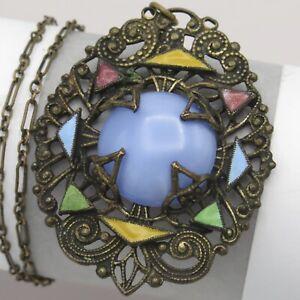 Vintage Art Deco Czech Geometric Enamel Glass Pendant Necklace