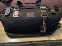 Tumi Alpha Bravo Satchel Duffel Gym Weekender Bag Black w Brown Leather Trim NEW