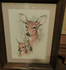 Vintage 1970s Deer & Fawn By Paul Whitney Hunter Framed With Glass & Signed