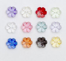 Choice of 12 colours 15mm Pack of 10 Clear Flower Buttons