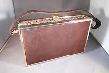 Vintage (1940-1950)Tyrolean Floral Metal Box Purse Clutch Handbag.