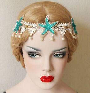 Women Girl Mermaid Blue Sea Star Shell Pearl Hair Headband crown Prop Garland