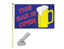 New listing 5' Wooden Flag Pole Kit W/ Nylon White Bracket 3x5 This Bar Is Open Poly Flag