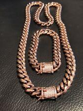 Mens Cuban Link Bracelet & Chain Set 14k Rose Gold Plated 12mm *Diamond Clasp*