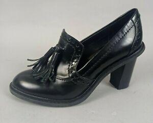 Clarks Ladies Tassel Loafers Shoes UK 5 D Black Leather Block Heel Smart Formal