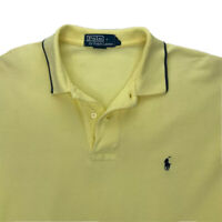 Polo Ralph Lauren Mens Polo Shirt Yellow Short Sleeves Hi Lo 100% Cotton Top L