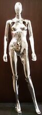 Plastic Adult Female Egg Head Chrome Mannequin Fashionably Posed with Base