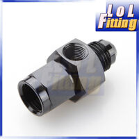"AN-6 AN6 Male to AN-6 AN6 Female with 1/8"" NPT Port  Fuel Gauge Adapter Black"