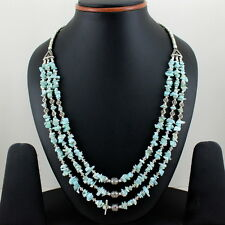 NECKLACE NATURAL BLUE LARIMAR CHIPS GEMSTONE BEADED BEAUTIFUL NECKLACE 53 GRAMS