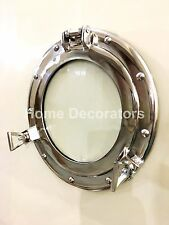 "11"" Nickle Plated Aluminum Porthole-Glass Window Ship Round Wall Decor Porthole"