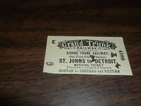 JUNE 1888 GRAND TRUNK RAILWAY GTW TICKET ST. JOHNS TO DETROIT