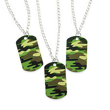 12 Metal Camouflage Camo Boy Army Military DOG TAG NECKLACE Birthday Party Favor