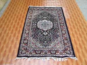 Blue Colour Hand Knotted Silk Rug Turkish Ghazni Living Room Traditional 3x5 ft