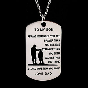 To My Son/Love DAD Stainless Steel Dog Tag Keychain Pendant Necklace Family Gift