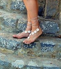 Fiore all'uncinetto, sandali a piedi nudi-BIANCO-Favori Nozze-handmade-Taglia unica-Beach