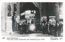 Postcard - Last Tram through Bargate Southampton Pamlin Prints Croydon
