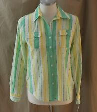 Alfred Dunner Petite, 6P, Bahama Bays Green Multi Button Front Top, NWT