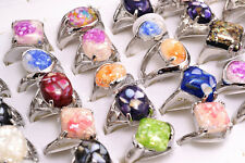 wholesale Lots 5Pcs Assorted natural Shell Gemstone Silver Plated Rings FREE