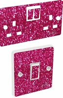 Pink Sequin Light Switch & Double Socket Sticker Vinyl / Skin cover