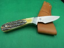 KEEN CUTTER 6 1/2 INCH BEAUTIFUL STAG HANDLES MADE 2006 LEATHER SHEATH USA