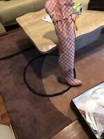 Authentic Gucci GG Canvas Over The Knee Boots Red 41