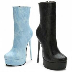 Women Personality 15cm Super High Heel Stiletto Platform Round Toe Ankle Boots L