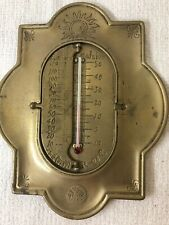 Antique Brass Thermometer, Degrees Celsius, Fahrenheit and Reaumur, Rare