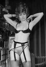 60s Topless Pinup standing  in garters and sheer panties 8 x 10 Photograph