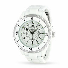 Round White Dial Crystal Bezel White Band Bracelet Wrist Watch Stainless Steel