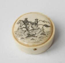 Vintage/ Antique Pair Of Hand Carved Trinket Box With Side Saddle Rider