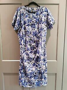 Asos blue and white Floral Maternity Dress 14 Baby Shower / wedding. V comfy