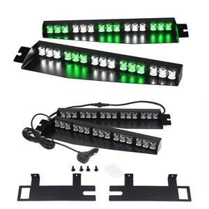 """34"""" LED Green White Visor Deck Split Warning Strobe Emergency Light for Vehicles"""