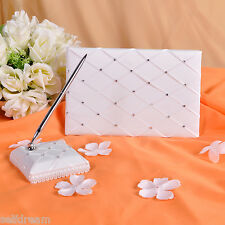 GB06 Rhinestone Ribbon Wedding Guest Book & Pen Set