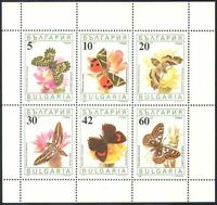 Bulgaria 1990 Butterflies/Insects/Nature/Conservation/Environment  6v sht (b946)