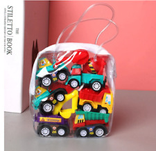 Car Model Toy Pull Back Mobile Vehicle Fire Truck Taxi Model Kid Mini Cars 6pcs