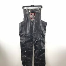 Premium Cowhide Leather Unisex Traditional Lined Motorcycle Chaps w// Spandex Thighs