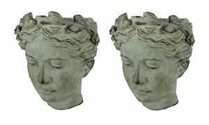 Distressed Cement Classic Greek Lady Head Indoor/Outdoor Hanging Planters Set