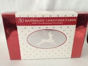 30 Handmade Christmas Cards with Envelopes Holiday Winter Greeting Cards NEW