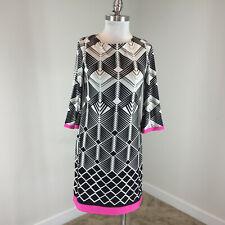Eliza J S 4 Black White Shift dress Pink Stretch Career Cocktail EUC GEO print