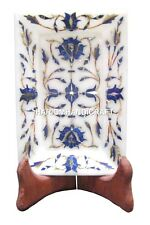 """6""""x4"""" Marble Serving Dish Tray Plate Lapis Inlay Exclusive Collectible Art H1872"""