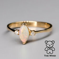 Marquise Cut Australian Solid Opal & Diamond Engagement Ring 14K Yellow Gold