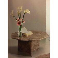 Tavolino da salotto ottogonale tutto in marmo colori nero, rosa o breccia